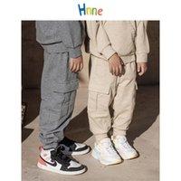 Hnne Kids Clothes Sweatpants Autumn Cargo Pants Hip hop Joggers Streetwear Unisex Boy Girl Cotton Comfortable Kid Pants 201128