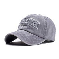 مصنع القطن 100٪ ozyc قبعة بيسبول الرمال غسلها للنساء الرجال خمر أبي قبعة نيويورك التطريز رسالة في الهواء الطلق