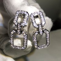European and American exaggerated full zircon geometric rectangular personality earrings female temperament simple long earrings