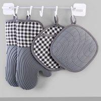 سيليكون فرن قفازات وحاملي الأواني مجموعات مع قفازات مطبخ مغطى بطانة مقاومة للطبخ لطبخ الخبز
