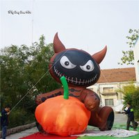 5m Height Outdoor Halloween Character Scary Inflatable Evil Cat Doll Balloon Holding A Pumpkin For Advertising Show And Party Decoration