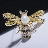 Pines, Broches Okily Color Color Bee Brooch Pin para Mujeres Hombres Regalo Lujo Zircon Insecto Pearl Wedding Fashon Accessory Broche
