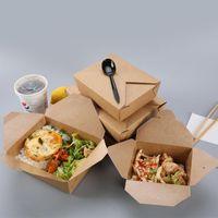 Хорошее качество Крафт-бумага бумаги пищевой коробку воды нефть доказательство фаст-фуда упаковочные коробки одноразовые высадки обед коробка жареные куриные суши салат FWF6900