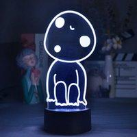 Luces de noche Anime Princess Mononoke Hime Figura Kodama Lámparas 3D LED Neón Regalos encantadores RGB Dormitorio Mesa de noche Decoración de la mesa
