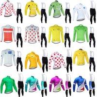투어 드 프랑스 팀 사이클링 긴 소매 유니폼 (BIB) Maillot 반바지 슈트 프로 의류 산 통기성 경주 스포츠 자전거 소프트 피부 친화적 인 42368