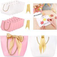 5 colores Boutique Ropa de regalo Embalaje Bolsa de cartón Papel Bolsas Fruit Fruit Cothing Compras Paquete con asa