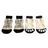 4pcs Pet Dog Sneakers Shoelace Pattern Non-slip Socks Paws Cover Shoes S-XL Apparel
