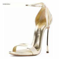 Dress Shoes 2021 Summer Fashion Women's Sandals Authentic Sexy Lace-up 12CM Metal Stilettos Size 3-13 14 BBZAI