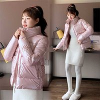 Autumn Winter Women Parkas Jackets Casual Stand Collar Shiny fabric Thick Warm padded Coats Female Outwear 211019
