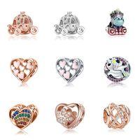 Подходит для Bracelets Pandora Bracelets 20PC Принцесса тыква автомобиль Univorn Heart Crystal Bashcle Серебряные подвески бусины для женщин, создание DIY европейское ожерелье ювелирные изделия Accessorie