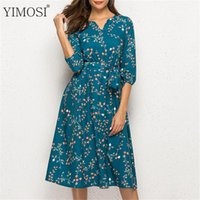 Casual Dresses Autumn Women Vintage Print Midi Dress 2021 V Neck 3 4 Sleeve A Line Elegant Evening Party Boho