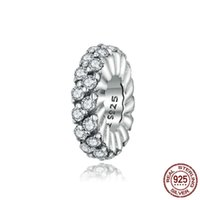 S925 Pure Sterling Silver Fits Pandor Charms Bracelet Cubic Zirconia Circle Charm Beads for Jewlry Making Women Accessories fine jewelry wholesale