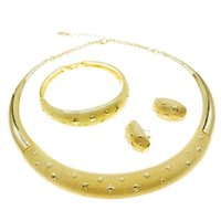 Pendientes Collar Yulaili Exquisito Brasileño Oro Simple estilo Set Daily Beautiful Mujer Pulsera Pendientes Anillo Joyas Conjuntos