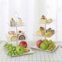 3-х уровневый пластиковый стенд торта послеобеденный чай свадебные тарелки партия столовые посуды Выпечки торт магазин три слоя торт стойки хранения лоток DHD6068