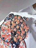 Chao21 뉴 G 가족 만화 접합 곰 짧은 소매 티셔츠 수 놓은 편지 둥근 목 루스 캐주얼 남자와 여성의