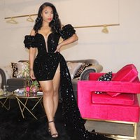 Glittering Black Sequins Short Mimi Prom Dresses 2021 Sexy Off The Shoulder Peplum Cocktail Party Gowns BlingBling Women Club Wear Formal Dress Arabic