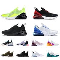 Nike Air max 270 Hommes Femmes 27c 270s Chaussures de course Mens Baskets Formateurs Triple Noir Blanc Volt Photo Bule Moyenne Olive À peine Rose Orange Rouge