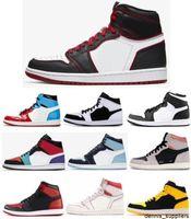 Novo 1s Bloodline Twist Phantom Sail Vermelho Neutral Cinza Crimson Multicolor Basquete Sapatos Homens 1 UNC Blue Chill New Love Sneakers com caixa