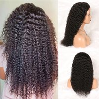 Deep Wave Human Hair 4x4 Transparent Lace Front Wigs With Baby Hairs Pre Plucked Natural Black Color