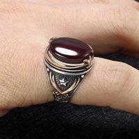 Barato Homem turco de jóias turca de prata vermelho ágata tigre anel de pedra do tigre