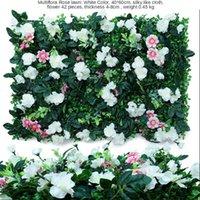 Dekorativa blommor kransar konstgjorda växt eukalyptus röd perilla grön jordnöt persisk löv gräs multiflora rose gräsmatta plantor med