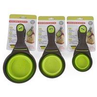 Ciotole per cani alimentatori creativi misurazione tazza di misura gatto alimentazione sigillatura clip tenuta pieghevole cucchiaio di scoop