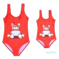 Meninas de verão cartoon urso uns-peças bikini swimsuit crianças crianças banhos de banho ternos bebê menina swimwear