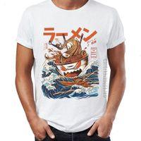 Мужчины 100% хлопчатобумажная футболка для взрослых Большой рамен от Канагава Смешные художественные футболки парней графические вершины Tees