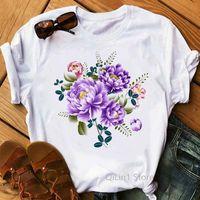 Women's T-Shirt Vintage Flowers Print T Shirt Women Lovely Tops Female Summer Clothes Tumblr Tshirt Femme Camisetas Mujer 80s 90s Tees