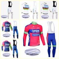 Lampre 팀 사이클링 저지 겨울 남성 겨울 열 양털 턱받이 바지 정장 MTB 자전거 운동복 Ropa Ciclismo B618-59
