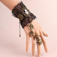 Retro Black Lace Bracelet Metal Anchor Rudder Skull Charm Finger Hand Chain Harness Bracelets for Women