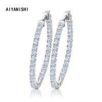 Hoop & Huggie AIYANISHI Real 925 Sterling Silver Classic Big Earrings Luxury Sona Diamond Fashion Simple Minimal Gifts