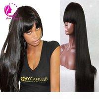 100% Virgor Brazilian Полное кружевное человеческие парики волос с челками безколеменных кружевных фронтальный парик 150 плотность дешевый прямой парик для черной женщины