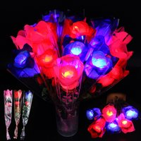 LED Light Up Rose Flower Glowing Valentines Day Wedding Decoration Fake Flowers Party Supplies Decorations simulation rose DH8550