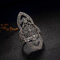 Luxus 100% echte 925 Sterling Silber Ringe für Frauen Retro Vintage Marcasit S925 Silber einstellbar Open Ring Schmuck