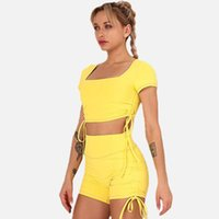 Gym Clothing Bowknot Solid Color Short-sleeved Shorts Sports Training Suit Running Fitness Top Pants Yoga Set For Women S M L YY6226DxDk