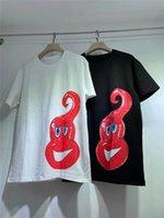 21SS erkek Kadın Tasarımcı T-shirt Splash Mürekkep Baskı Tees Resmi Web Sitesi Yeni Tee Marka Moda T-Shirt Markalar Mektup Baskı 2 Renkler Çiftler Kısa Kollu