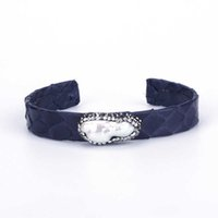 Natural Freshwater Big Pearl Bead Rhinestone Charm Dark Deep Blue Real Leather Wrap Adjustable Open Bracelet Cuff Bangle Women