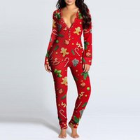 Women's Jumpsuits & Rompers Sexy Women Stylish Jumpsuit Long Sleeve Pajama Bum Open Homewear Button Flap Festival Slim Bodysuit Clothing