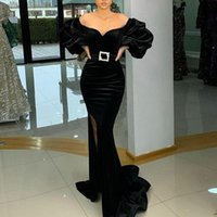 Arabic Velvet Mermaid Evening Dresses With Puff Long Sleeves Side Slit Prom Dress Vintage Formal Party Gowns Vestidos Fiesta Robe De Soirée