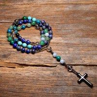 Naturel Lapis Lazuli Mala Perles Cross Catholique Christ Christ Colliers de chapelet Hématite Pendentif Collier pour femmes et hommes