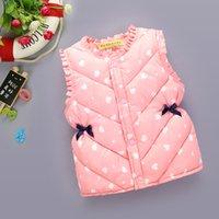 Outono inverno jaqueta quente para crianças espessas bonito impresso crianças casacos outerwear sem mangas roupas para baixo vestido bebê menina jaqueta 770 v2
