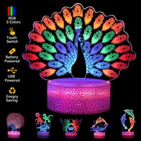 3D Night Lights Colorful 3 Acrylic Plates Multi Shape LED Base Lamp Game Music Basketball Peacock Animal Love Light for Kids Gift Room Store Decoration