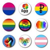 4.4*4.4cm Tinplate Rainbow Badge Party Supplies LGBT Brooch Lgbtq Stuff Accessories FHL455-WLL