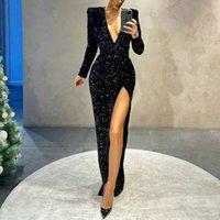 Robes de soirée Noir Sirène Sexy V ecoux Col V · Femme Robes De Bal Robes De Longues Manches Splace Split Robe de Soirer 2021