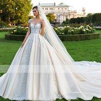 2021 Gorgeous Appliques Beading Chapel Train Ball Gown Wedding Dress Elegant Scoop Neck Cap Sleeve Custom Vintage Bridal Gown