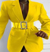 단일 브레스트 벨트 다기능 트렌드 OL 바깥 착용 전문 정장 코트 봄 가을 여성 패션 캐주얼 블레이저 옷깃 PERS BLA