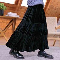 Осенние дети подростки девушки бархатные длинные Maxi юбки-подросток девушка осень зимний велюровый рваный торт юбки мода детская одежда 210331