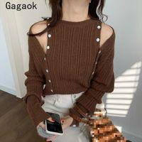 Gagaok coréen tricoté tricoté femmes femmes 2020 printemps automne nouveau col de ônel solide bouton sexy chandails sexy slim chic mode sauvage pulls sauvages