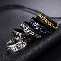 Cool Stainless Steel Rotatable Men Ring High Quality Spinner Chain Punk Women Jewelry for Party Gift